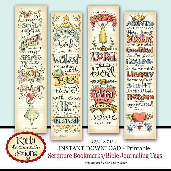Luke 1-4 Bible Journaling Bookmarks