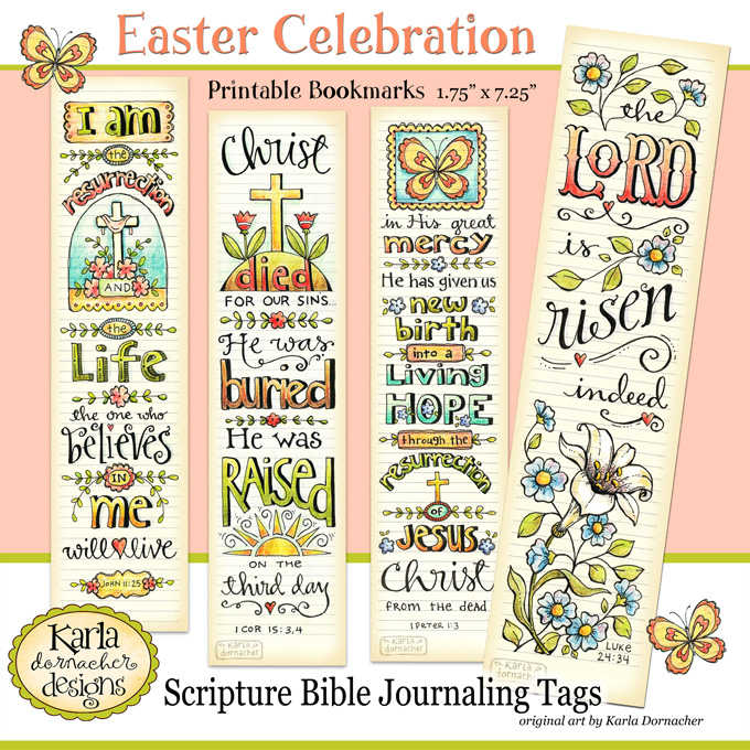 picture about Who I Am in Christ Printable Bookmark titled Easter Entire Colour Printable Bible Journaling Bookmarks