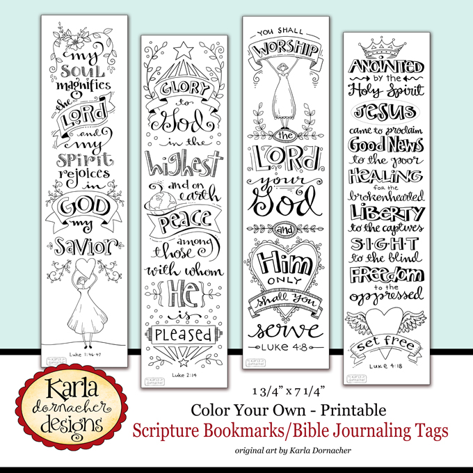 Luke 1 4 color your own bible journaling bookmarks for Religious bookmark templates