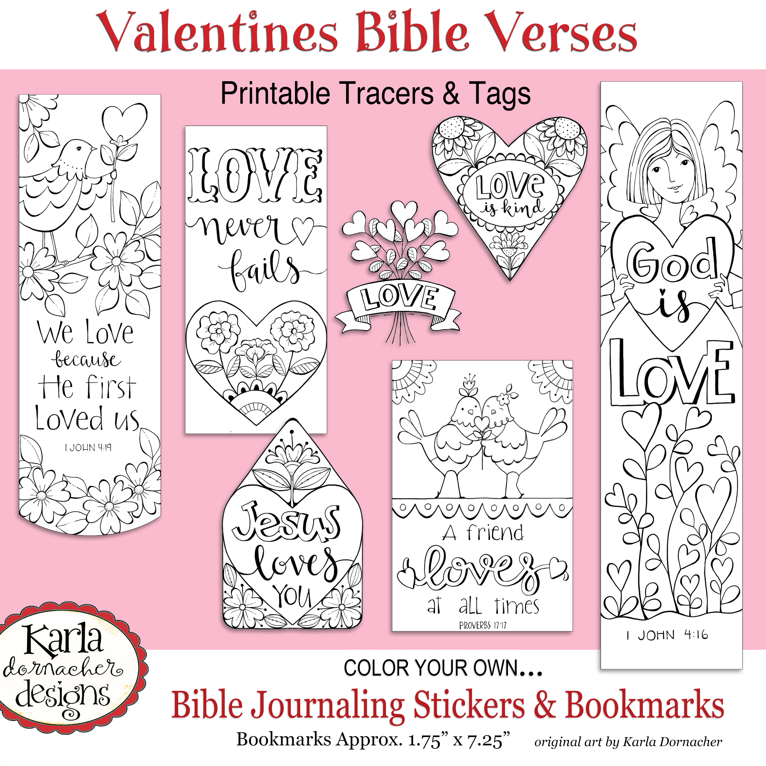 Valentine bookmark to color - Valentines Color Your Own Tags Stickers Bookmarks Etsy